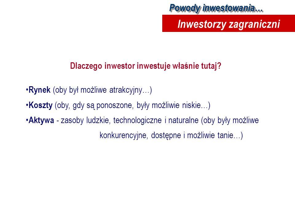 Powody inwestowania… Inwestorzy zagraniczni Dlaczego inwestor inwestuje właśnie tutaj? Rynek (oby był możliwe atrakcyjny…) Koszty (oby, gdy są ponoszo