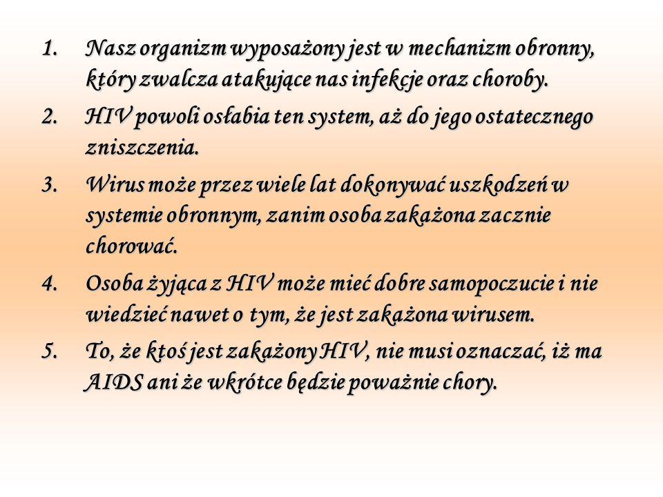 W jaki sposób nie ma ryzyka zakażenia się HIV.1.HIV nie przenosi się poprzez kaszel lub kichanie.