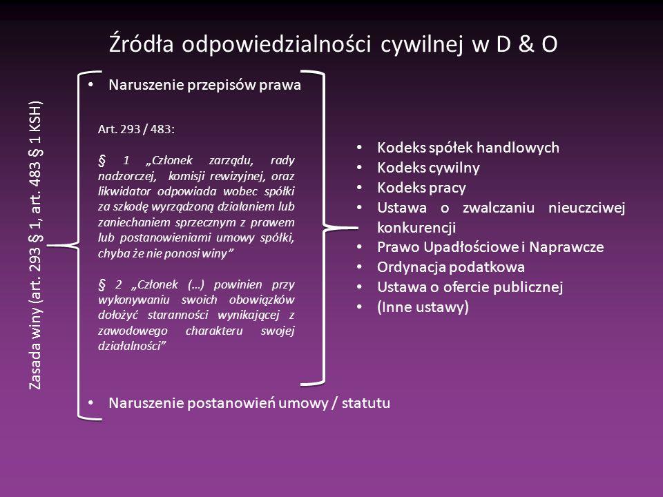 Źródła odpowiedzialności cywilnej w D & O Naruszenie przepisów prawa Naruszenie postanowień umowy / statutu Zasada winy (art.