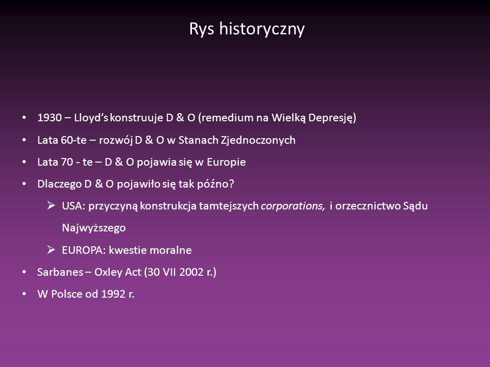 Rys historyczny 1930 – Lloyds konstruuje D & O (remedium na Wielką Depresję) Lata 60-te – rozwój D & O w Stanach Zjednoczonych Lata 70 - te – D & O pojawia się w Europie Dlaczego D & O pojawiło się tak późno.