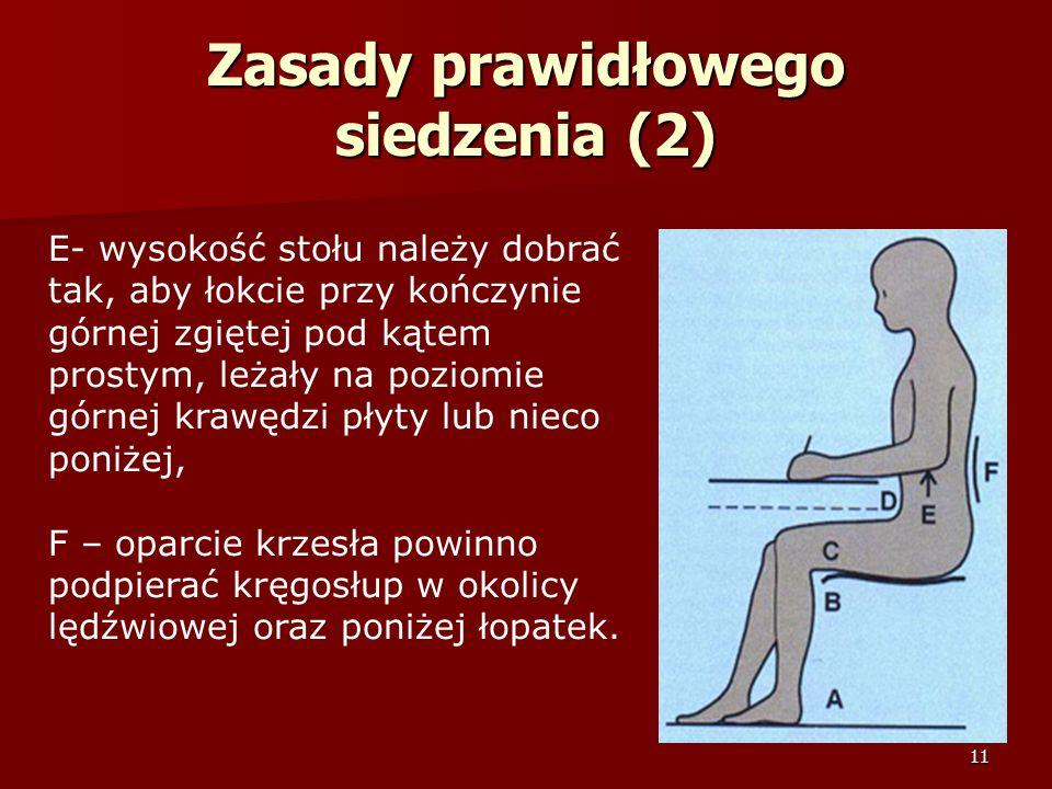 11 Zasady prawidłowego siedzenia (2) E- wysokość stołu należy dobrać tak, aby łokcie przy kończynie górnej zgiętej pod kątem prostym, leżały na poziom