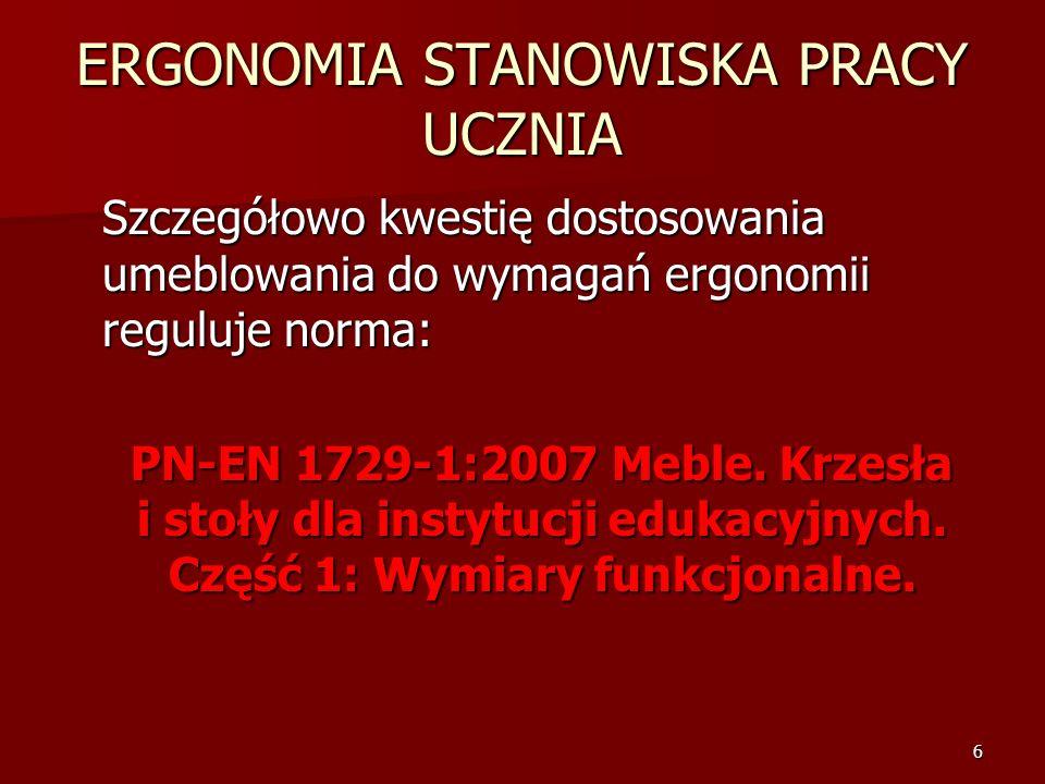 6 ERGONOMIA STANOWISKA PRACY UCZNIA Szczegółowo kwestię dostosowania umeblowania do wymagań ergonomii reguluje norma: PN-EN 1729-1:2007 Meble. Krzesła