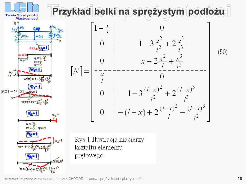 Przykład belki na sprężystym podłożu (50) Politechnika Świętokrzyska KM,KM i MK, Leszek CHODOR Teoria sprężystości i plastyczności 10