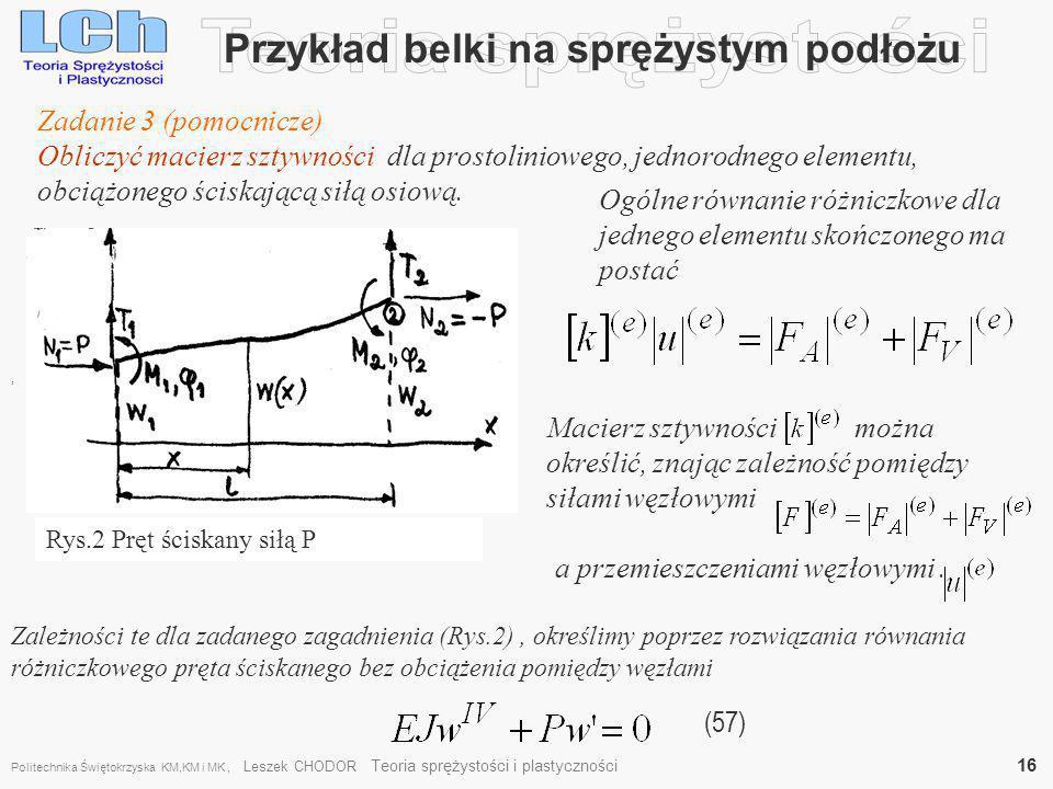 a przemieszczeniami węzłowymi. Macierz sztywności można określić, znając zależność pomiędzy siłami węzłowymi Przykład belki na sprężystym podłożu (57)