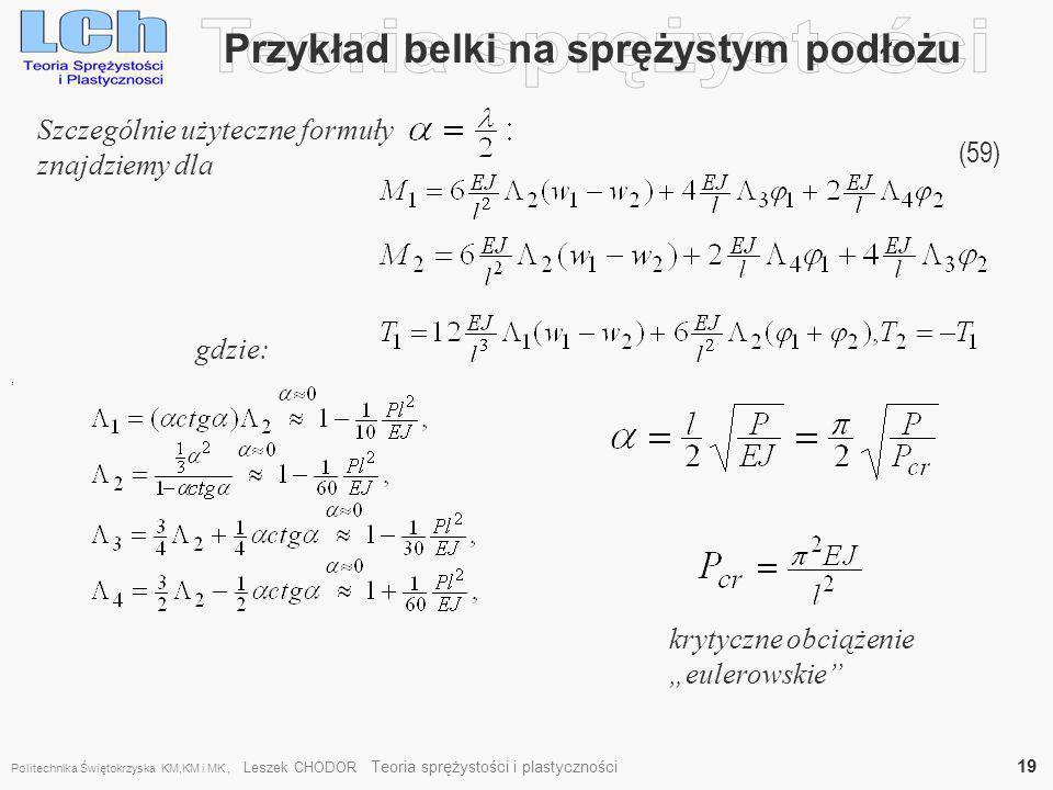 Przykład belki na sprężystym podłożu (59), Szczególnie użyteczne formuły znajdziemy dla gdzie: krytyczne obciążenie eulerowskie Politechnika Świętokrz