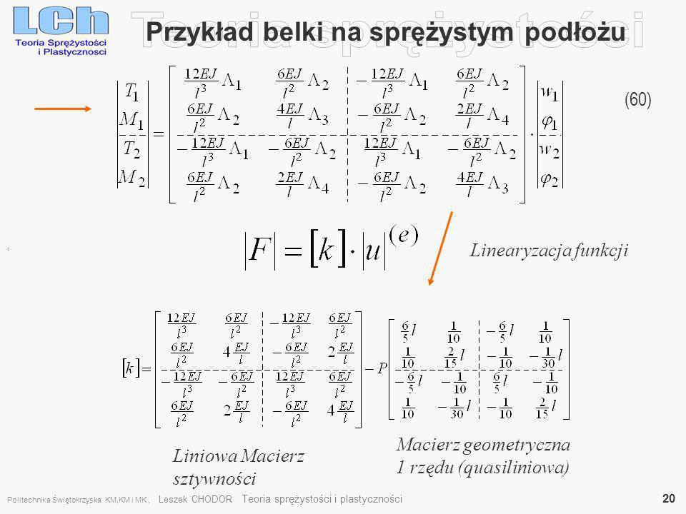 Przykład belki na sprężystym podłożu (60), Linearyzacja funkcji Liniowa Macierz sztywności Macierz geometryczna 1 rzędu (quasiliniowa) Politechnika Św