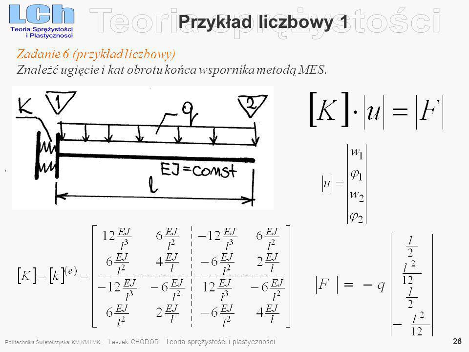 Przykład liczbowy 1, Zadanie 6 (przykład liczbowy) Znależć ugięcie i kat obrotu końca wspornika metodą MES. Politechnika Świętokrzyska KM,KM i MK, Les