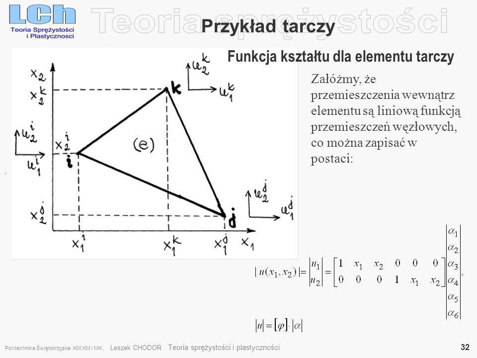 , Załóżmy, że przemieszczenia wewnątrz elementu są liniową funkcją przemieszczeń węzłowych, co można zapisać w postaci: Przykład tarczy Funkcja kształ