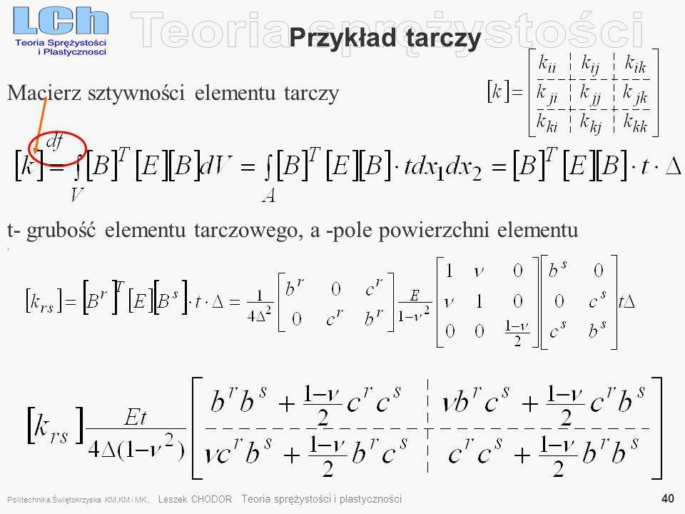 , Przykład tarczy Macierz sztywności elementu tarczy t- grubość elementu tarczowego, a -pole powierzchni elementu Politechnika Świętokrzyska KM,KM i M