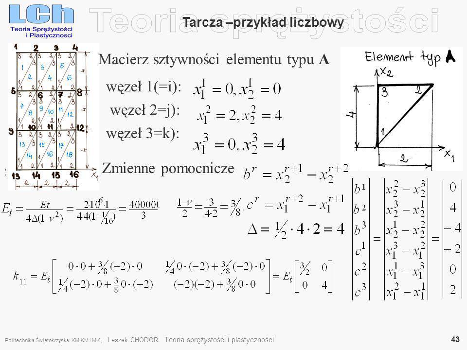 , Tarcza –przykład liczbowy Macierz sztywności elementu typu A węzeł 1(=i): węzeł 2=j): węzeł 3=k): Zmienne pomocnicze, Politechnika Świętokrzyska KM,