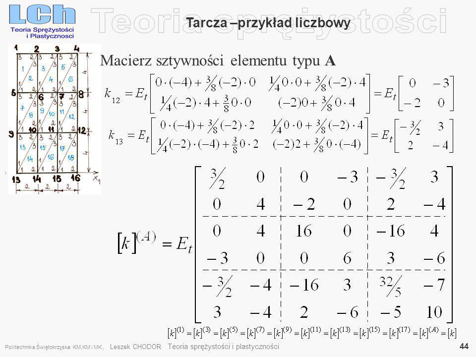 , Tarcza –przykład liczbowy Macierz sztywności elementu typu A Politechnika Świętokrzyska KM,KM i MK, Leszek CHODOR Teoria sprężystości i plastycznośc
