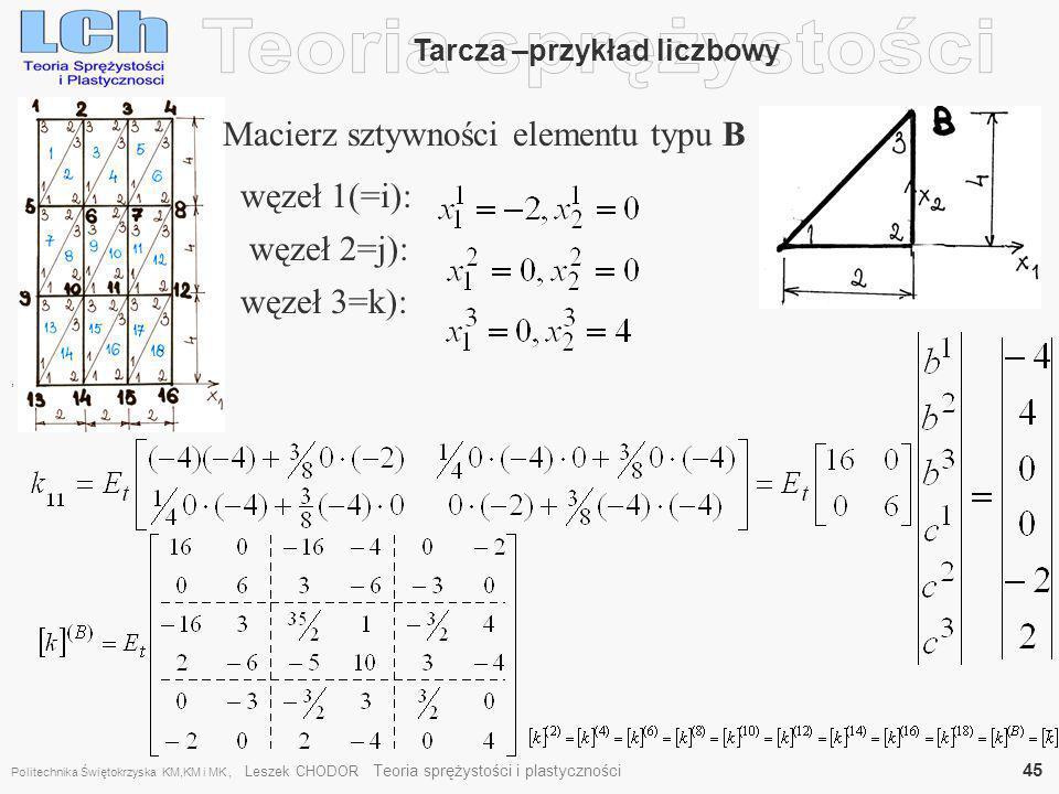 , Tarcza –przykład liczbowy Macierz sztywności elementu typu B węzeł 1(=i): węzeł 2=j): węzeł 3=k): Politechnika Świętokrzyska KM,KM i MK, Leszek CHOD