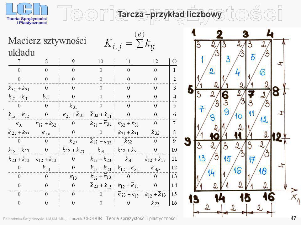 , Tarcza –przykład liczbowy Macierz sztywności układu Politechnika Świętokrzyska KM,KM i MK, Leszek CHODOR Teoria sprężystości i plastyczności 47