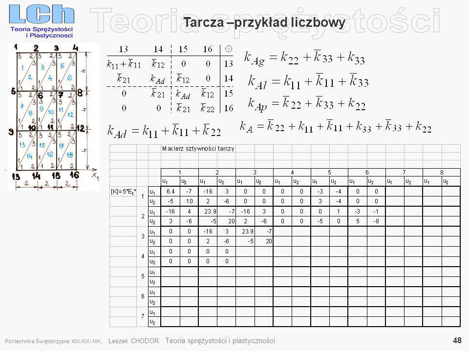, Tarcza –przykład liczbowy Politechnika Świętokrzyska KM,KM i MK, Leszek CHODOR Teoria sprężystości i plastyczności 48