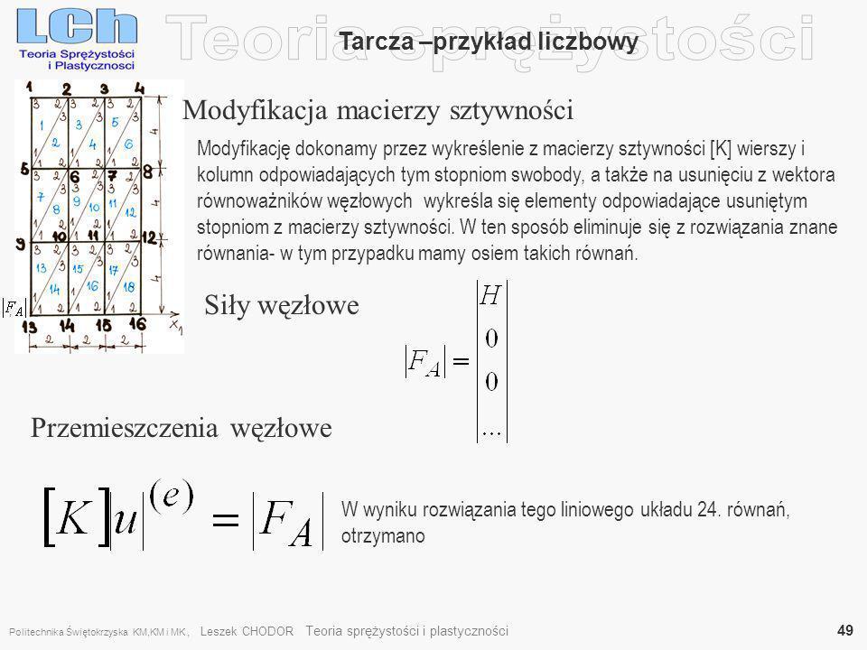 , Tarcza –przykład liczbowy Modyfikacja macierzy sztywności Modyfikację dokonamy przez wykreślenie z macierzy sztywności [K] wierszy i kolumn odpowiad