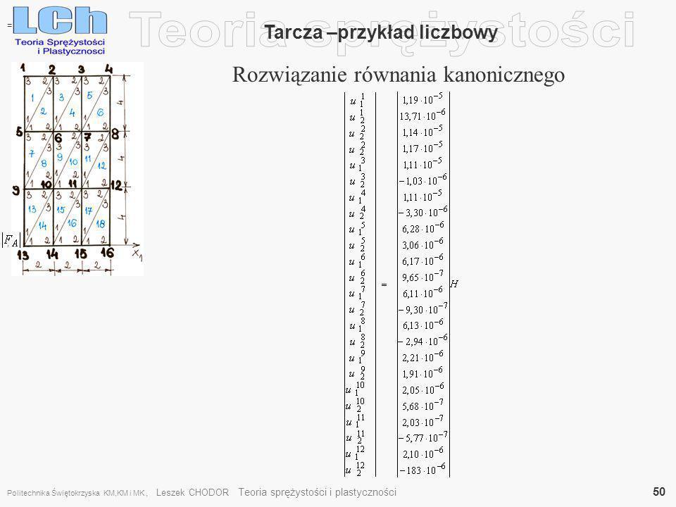 , Tarcza –przykład liczbowy Rozwiązanie równania kanonicznego = Politechnika Świętokrzyska KM,KM i MK, Leszek CHODOR Teoria sprężystości i plastycznoś