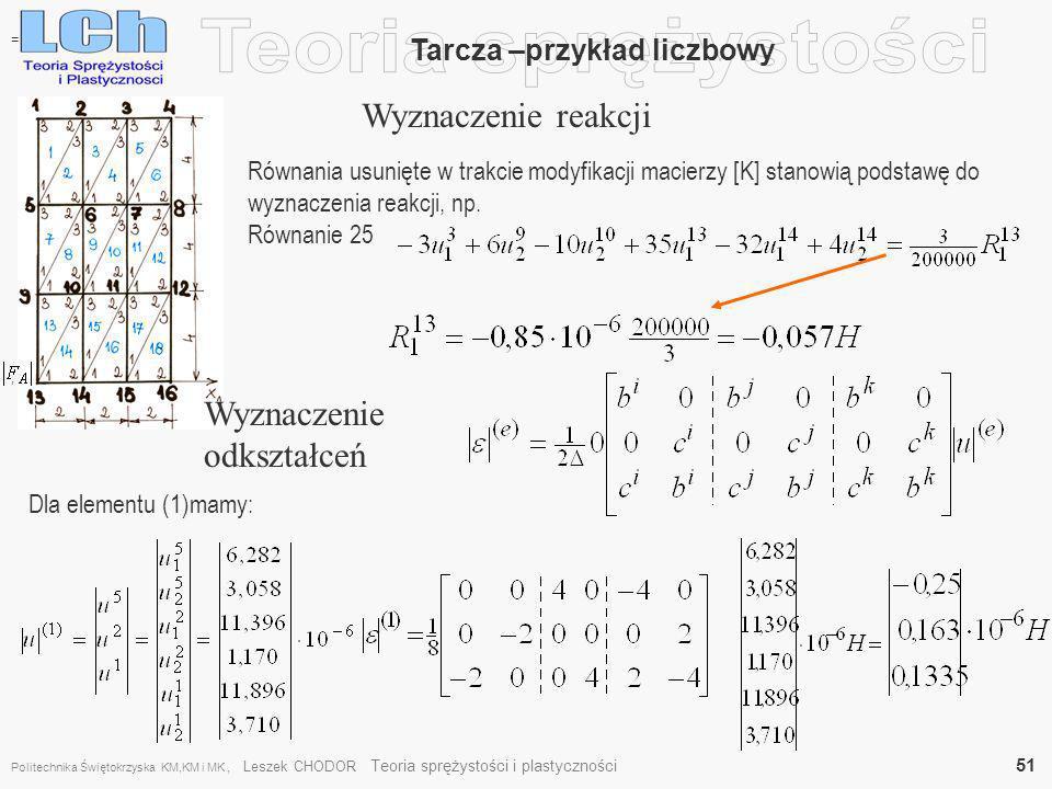 , Tarcza –przykład liczbowy Wyznaczenie reakcji = Równania usunięte w trakcie modyfikacji macierzy [K] stanowią podstawę do wyznaczenia reakcji, np. R