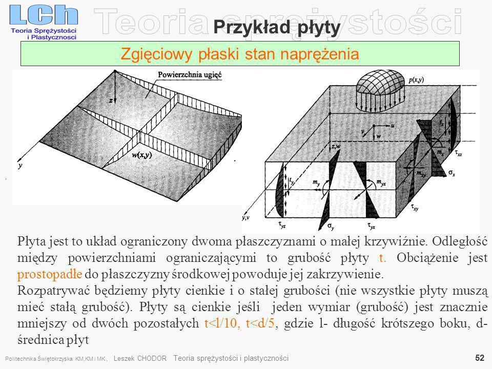 , Przykład płyty Zgięciowy płaski stan naprężenia Płyta jest to układ ograniczony dwoma płaszczyznami o małej krzywiźnie. Odległość między powierzchni