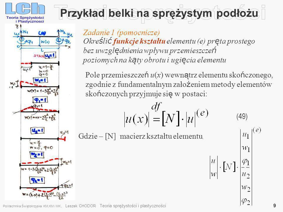 Przykład belki na sprężystym podłożu (60), Linearyzacja funkcji Liniowa Macierz sztywności Macierz geometryczna 1 rzędu (quasiliniowa) Politechnika Świętokrzyska KM,KM i MK, Leszek CHODOR Teoria sprężystości i plastyczności 20