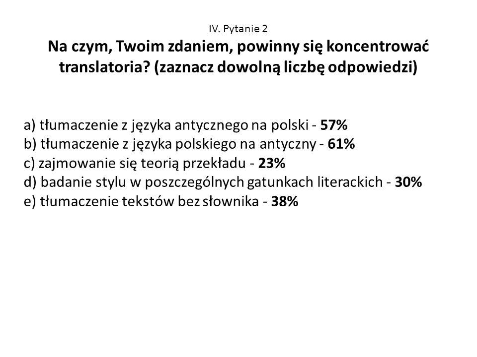 IV. Pytanie 2 Na czym, Twoim zdaniem, powinny się koncentrować translatoria? (zaznacz dowolną liczbę odpowiedzi) a) tłumaczenie z języka antycznego na