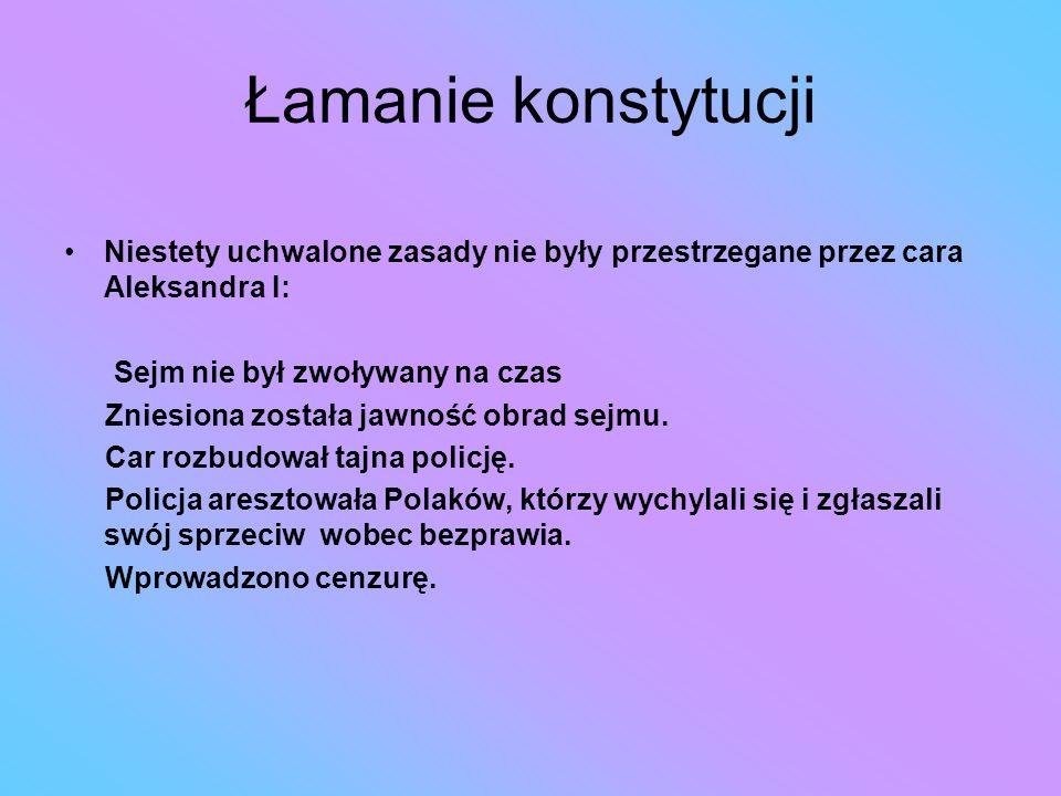 Łamanie konstytucji Niestety uchwalone zasady nie były przestrzegane przez cara Aleksandra I: Sejm nie był zwoływany na czas Zniesiona została jawność