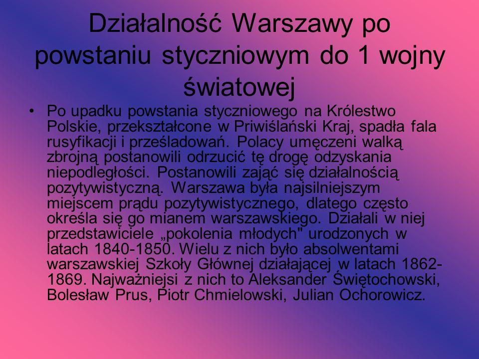 Działalność Warszawy po powstaniu styczniowym do 1 wojny światowej Po upadku powstania styczniowego na Królestwo Polskie, przekształcone w Priwiślańsk