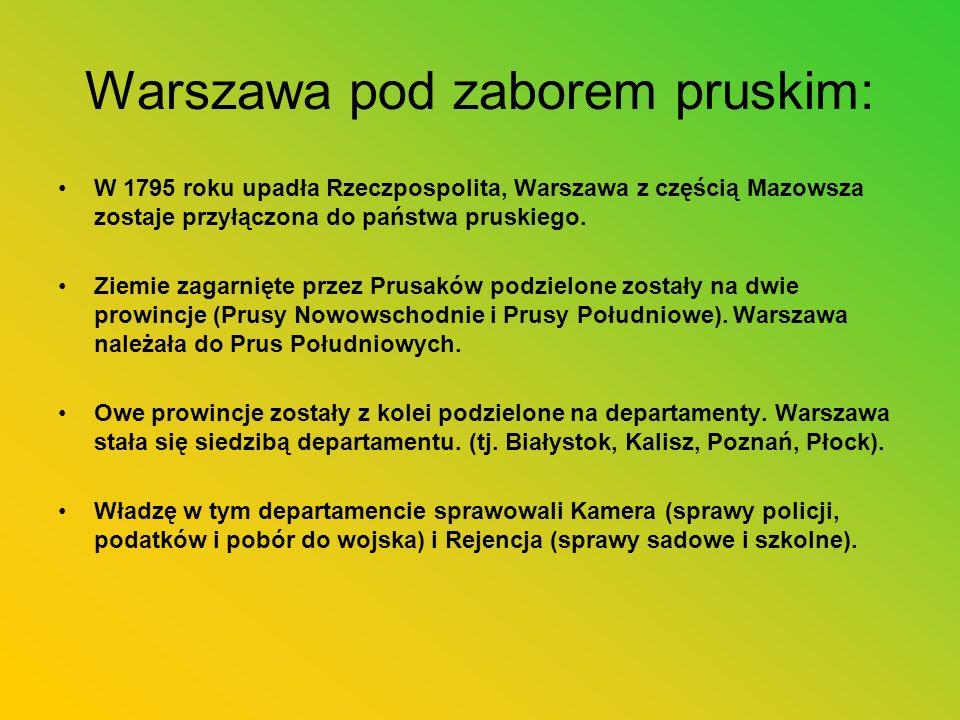 Warszawa pod zaborem pruskim: W 1795 roku upadła Rzeczpospolita, Warszawa z częścią Mazowsza zostaje przyłączona do państwa pruskiego. Ziemie zagarnię