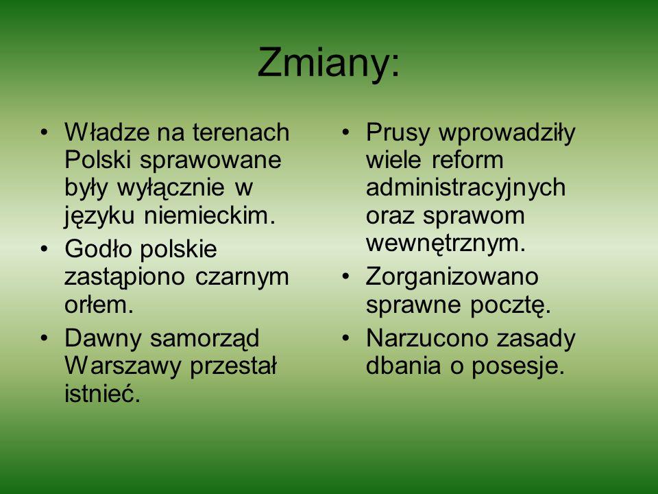 Zmiany: Władze na terenach Polski sprawowane były wyłącznie w języku niemieckim. Godło polskie zastąpiono czarnym orłem. Dawny samorząd Warszawy przes