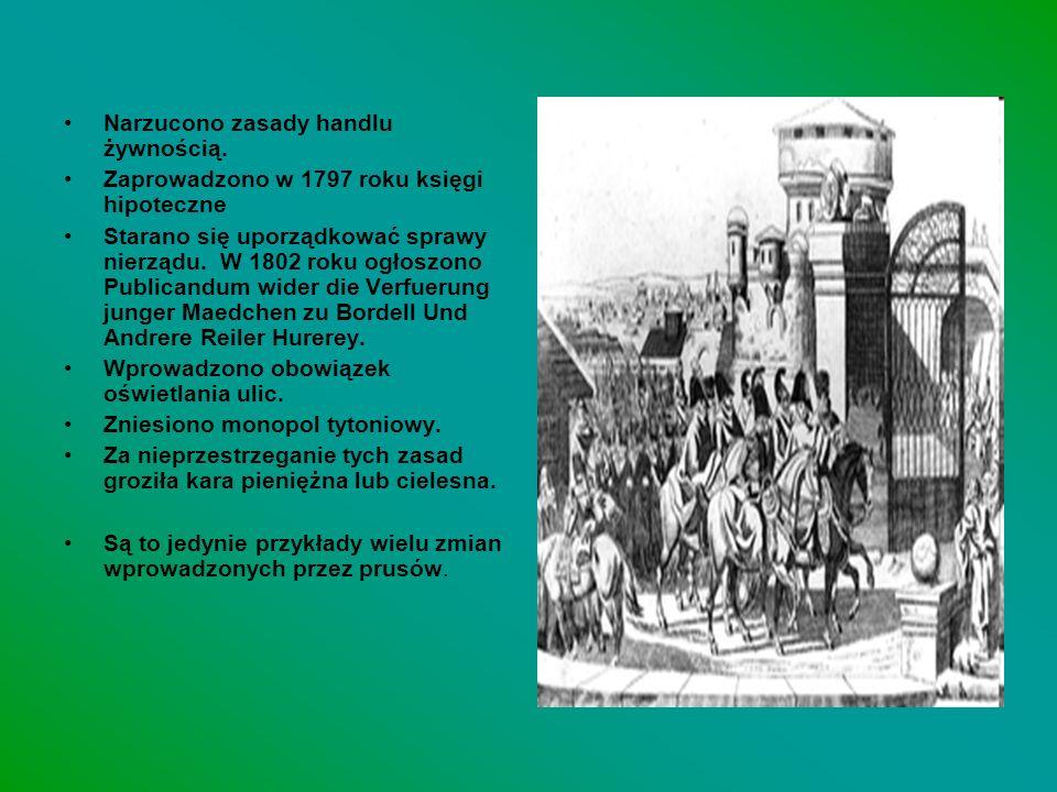 Narzucono zasady handlu żywnością. Zaprowadzono w 1797 roku księgi hipoteczne Starano się uporządkować sprawy nierządu. W 1802 roku ogłoszono Publican