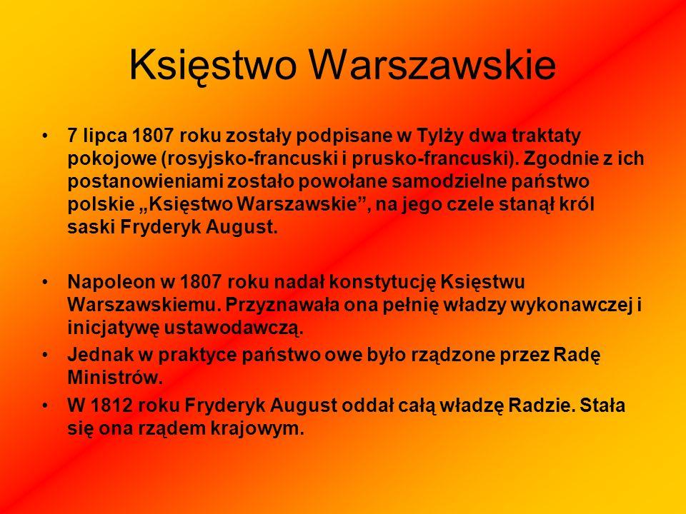 Księstwo Warszawskie 7 lipca 1807 roku zostały podpisane w Tylży dwa traktaty pokojowe (rosyjsko-francuski i prusko-francuski). Zgodnie z ich postanow
