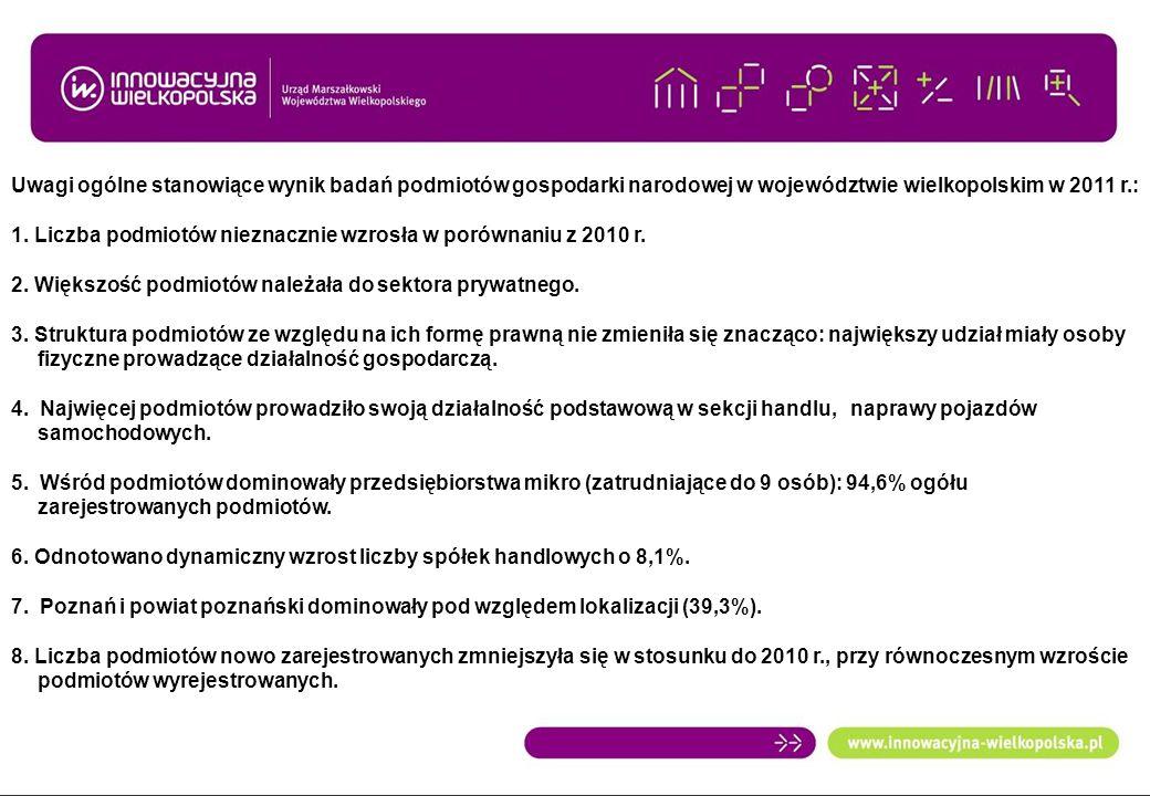 Uwagi ogólne stanowiące wynik badań podmiotów gospodarki narodowej w województwie wielkopolskim w 2011 r.: 1. Liczba podmiotów nieznacznie wzrosła w p