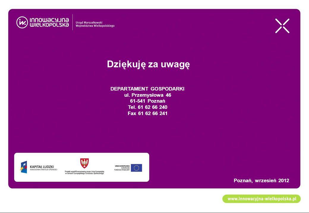 Dziękuję za uwagę DEPARTAMENT GOSPODARKI ul. Przemysłowa 46 61-541 Poznań Tel. 61 62 66 240 Fax 61 62 66 241 Poznań, wrzesień 2012