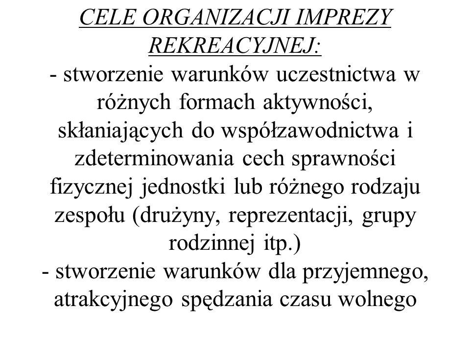 CELE ORGANIZACJI IMPREZY REKREACYJNEJ: - stworzenie warunków uczestnictwa w różnych formach aktywności, skłaniających do współzawodnictwa i zdetermino