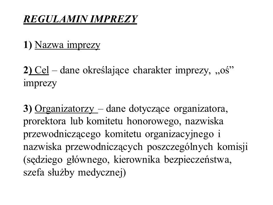 REGULAMIN IMPREZY 1) Nazwa imprezy 2) Cel – dane określające charakter imprezy, oś imprezy 3) Organizatorzy – dane dotyczące organizatora, prorektora