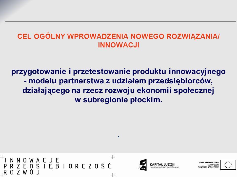 CEL OGÓLNY WPROWADZENIA NOWEGO ROZWIĄZANIA/ INNOWACJI przygotowanie i przetestowanie produktu innowacyjnego - modelu partnerstwa z udziałem przedsiębi
