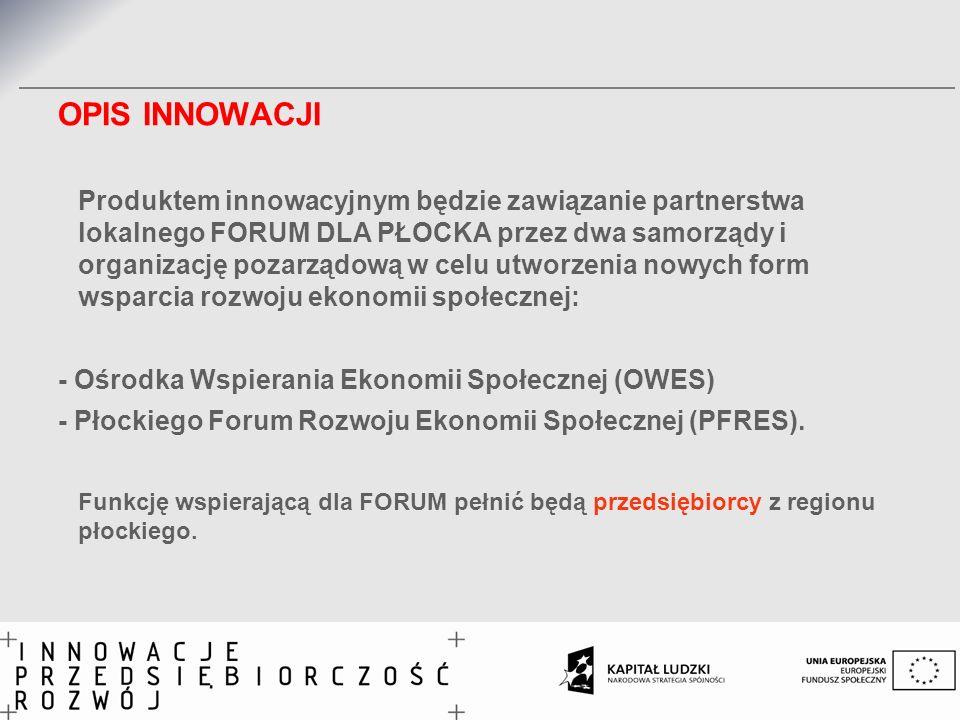 OPIS INNOWACJI Produktem innowacyjnym będzie zawiązanie partnerstwa lokalnego FORUM DLA PŁOCKA przez dwa samorządy i organizację pozarządową w celu ut