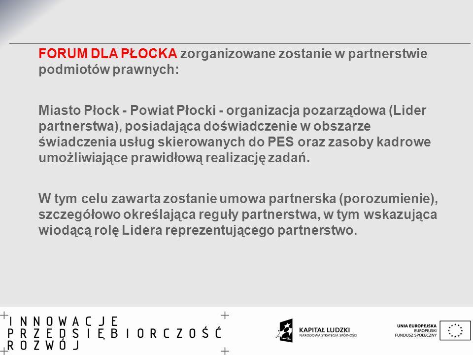 FORUM DLA PŁOCKA zorganizowane zostanie w partnerstwie podmiotów prawnych: Miasto Płock - Powiat Płocki - organizacja pozarządowa (Lider partnerstwa),