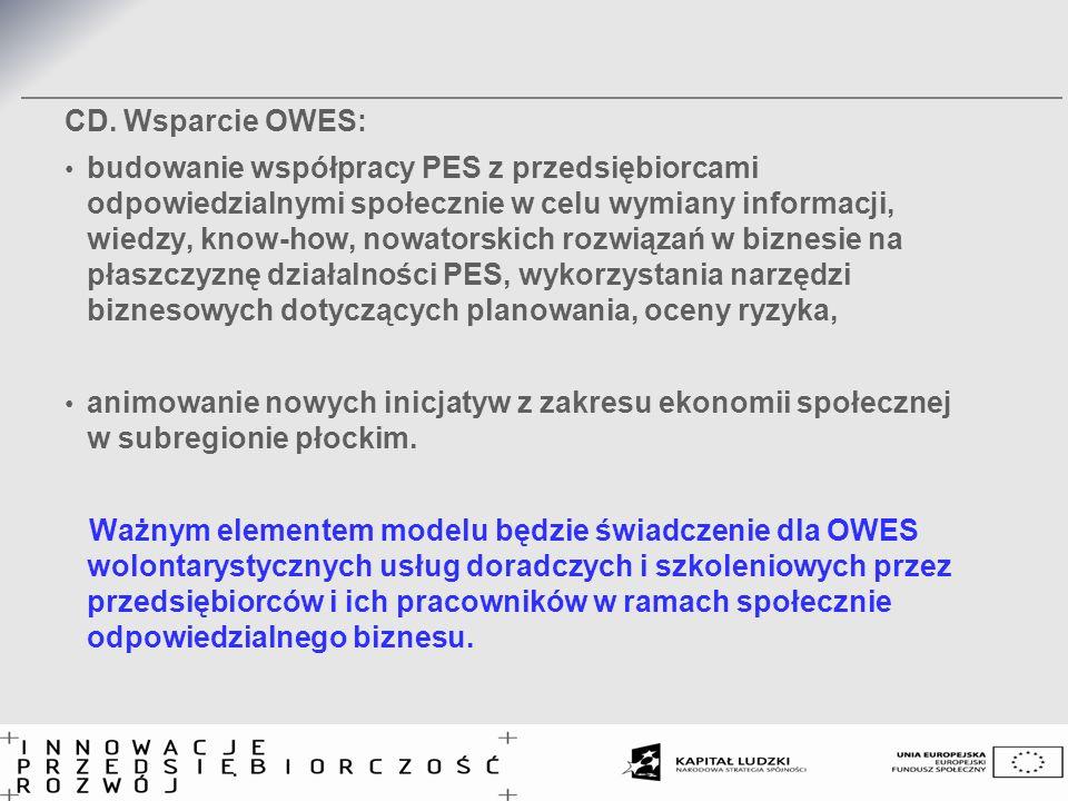 CD. Wsparcie OWES: budowanie współpracy PES z przedsiębiorcami odpowiedzialnymi społecznie w celu wymiany informacji, wiedzy, know-how, nowatorskich r