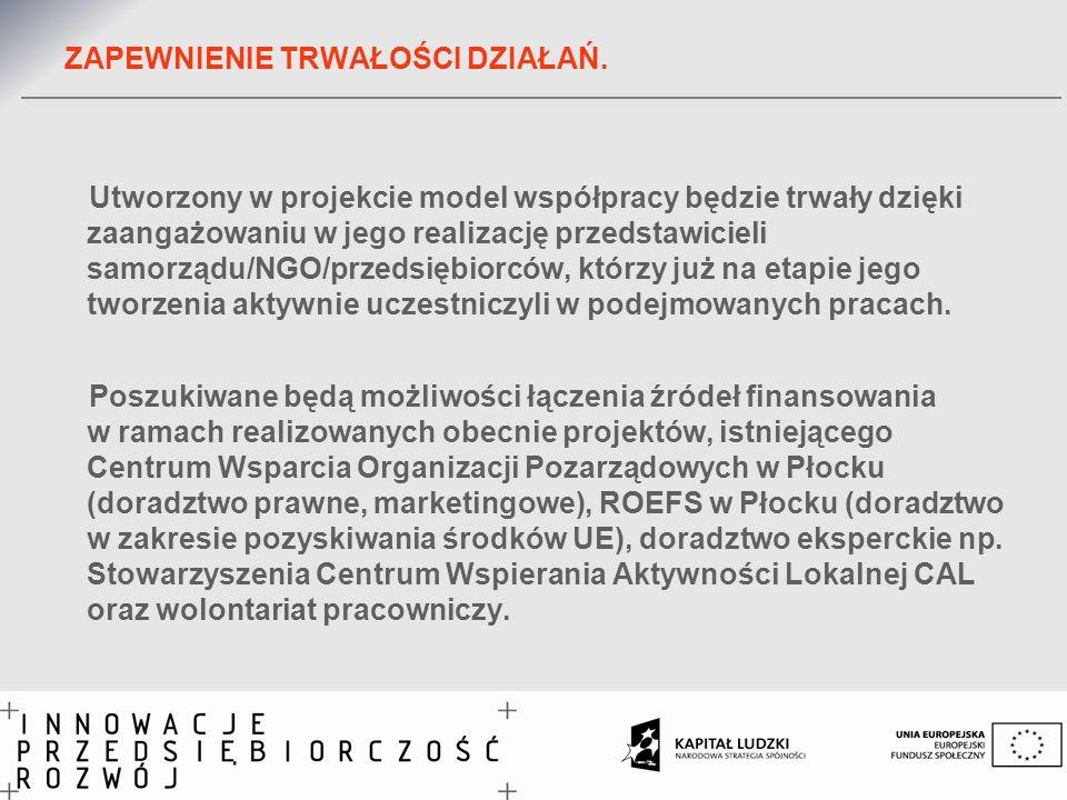 ZAPEWNIENIE TRWAŁOŚCI DZIAŁAŃ. Utworzony w projekcie model współpracy będzie trwały dzięki zaangażowaniu w jego realizację przedstawicieli samorządu/N