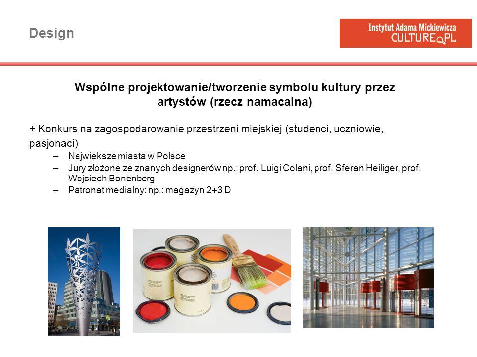 Design + Konkurs na zagospodarowanie przestrzeni miejskiej (studenci, uczniowie, pasjonaci) –Największe miasta w Polsce –Jury złożone ze znanych desig