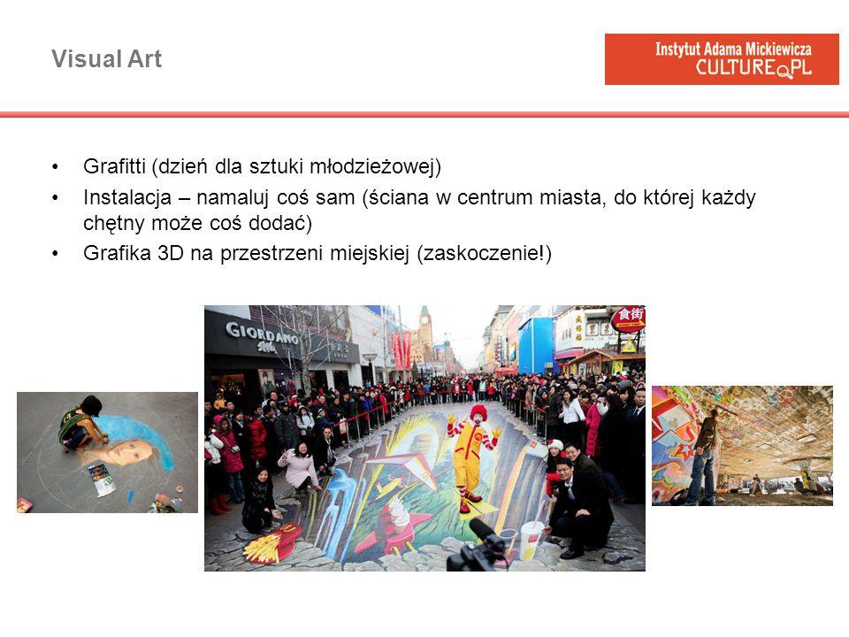 Visual Art Grafitti (dzień dla sztuki młodzieżowej) Instalacja – namaluj coś sam (ściana w centrum miasta, do której każdy chętny może coś dodać) Graf