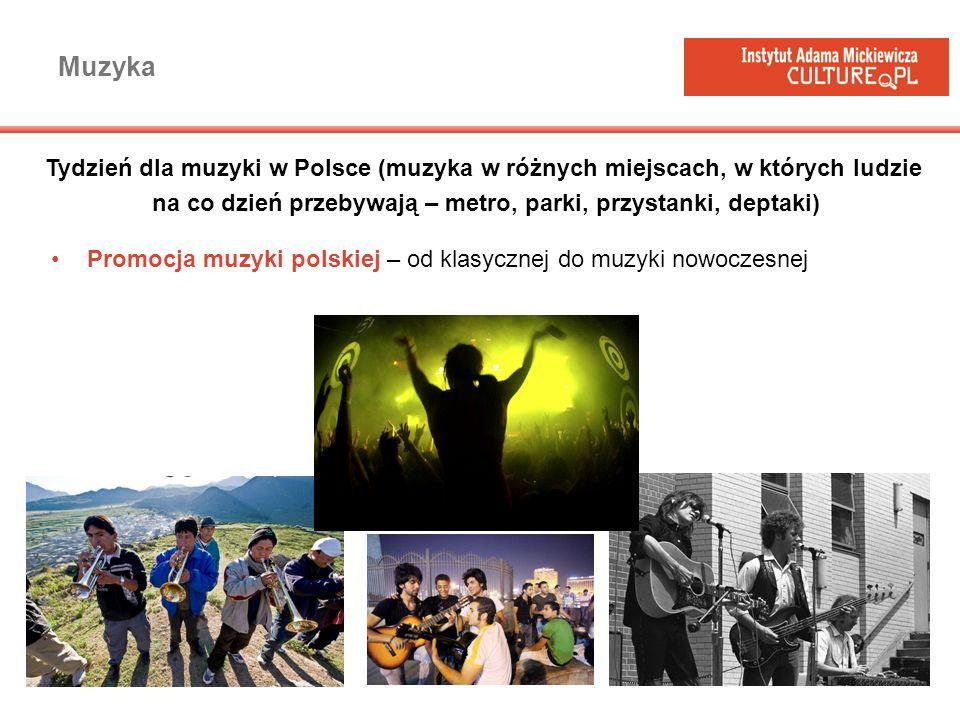 Muzyka Promocja muzyki polskiej – od klasycznej do muzyki nowoczesnej Tydzień dla muzyki w Polsce (muzyka w różnych miejscach, w których ludzie na co