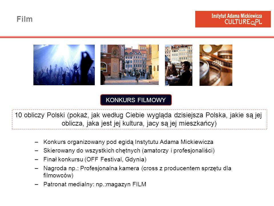 Film –Konkurs organizowany pod egidą Instytutu Adama Mickiewicza –Skierowany do wszystkich chętnych (amatorzy i profesjonaliści) –Finał konkursu (OFF