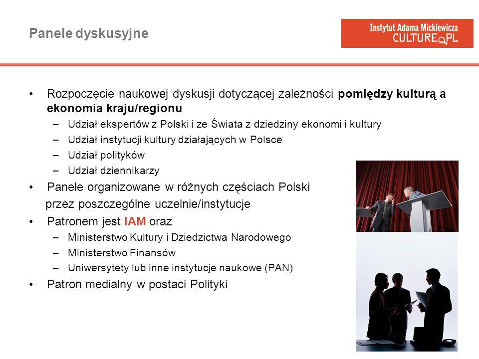 Panele dyskusyjne Rozpoczęcie naukowej dyskusji dotyczącej zależności pomiędzy kulturą a ekonomia kraju/regionu –Udział ekspertów z Polski i ze Świata