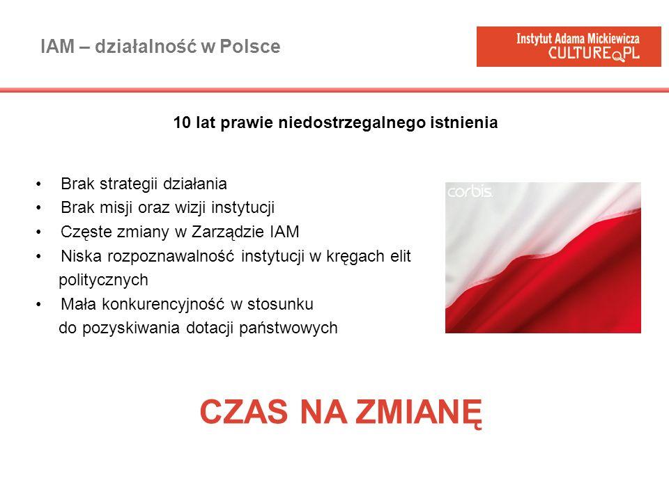 IAM – działalność w Polsce Brak strategii działania Brak misji oraz wizji instytucji Częste zmiany w Zarządzie IAM Niska rozpoznawalność instytucji w