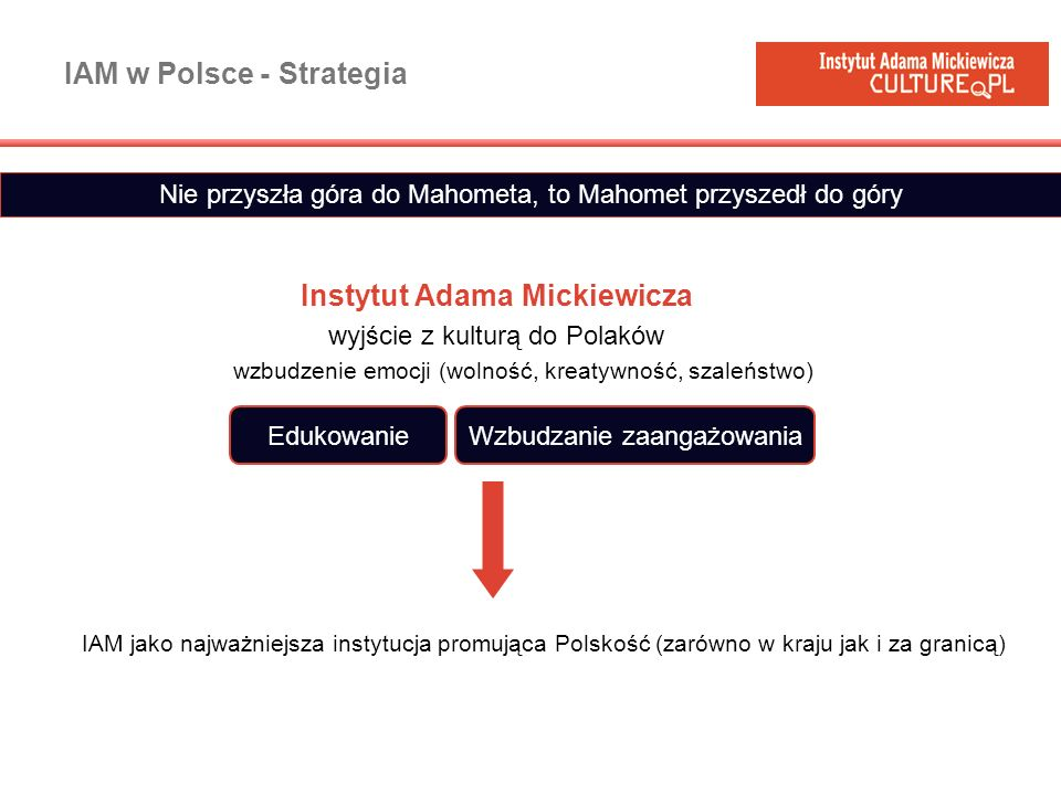 IAM w Polsce - Strategia Instytut Adama Mickiewicza wyjście z kulturą do Polaków wzbudzenie emocji (wolność, kreatywność, szaleństwo) Nie przyszła gór