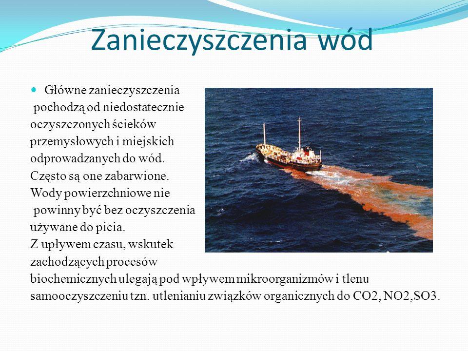 Zanieczyszczenia wód Główne zanieczyszczenia pochodzą od niedostatecznie oczyszczonych ścieków przemysłowych i miejskich odprowadzanych do wód. Często