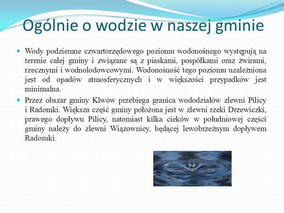 Ogólnie o wodzie w naszej gminie Wody podziemne czwartorzędowego poziomu wodonośnego występują na terenie całej gminy i związane są z piaskami, pospół