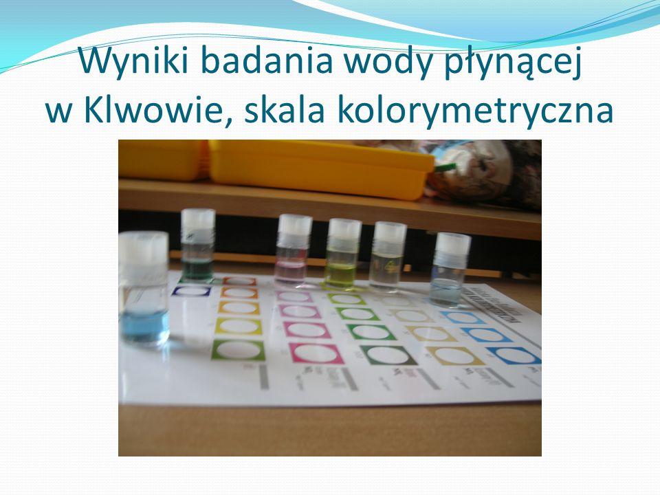 Wyniki badania wody płynącej w Klwowie, skala kolorymetryczna