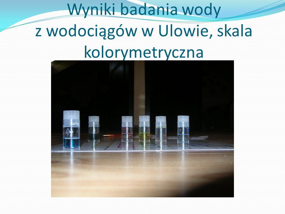 Wyniki badania wody z wodociągów w Ulowie, skala kolorymetryczna